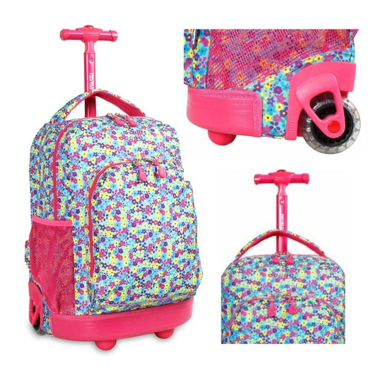 "Buy Brand New Girls #Rolling #Backpack #School Student #BookBag Wheeled Carry On Pink 17"" Travel"