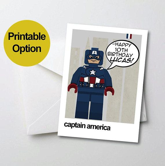 Printable Birthday Card Captain America Personalised Superhero For Boy