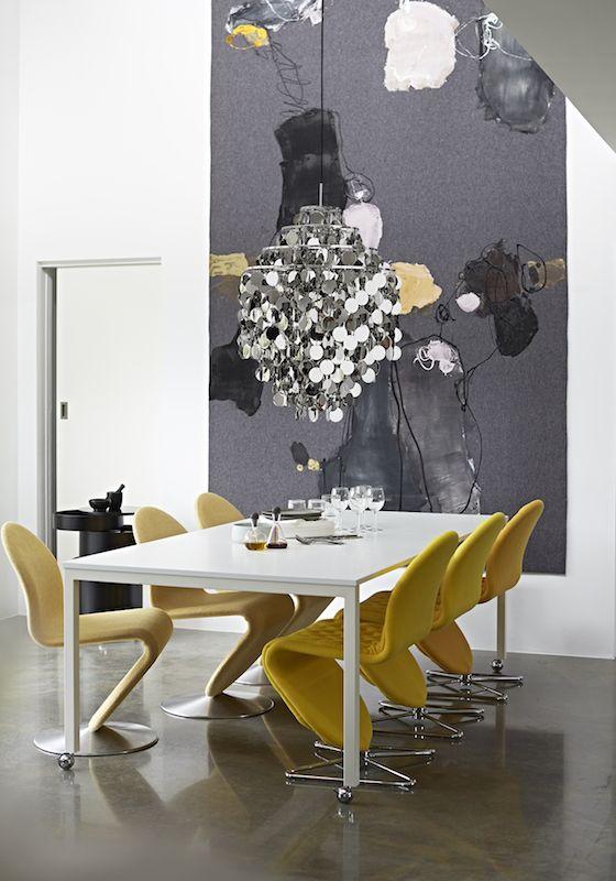 Panton Move table with System 1-2-3 Dining chairs, FUN1 DA pendant  Danish Interior Design Budapest