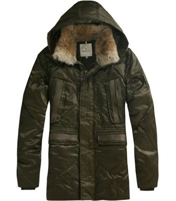 France Moncler Men Coat Mid Length Hooded Down Army Green Outlet