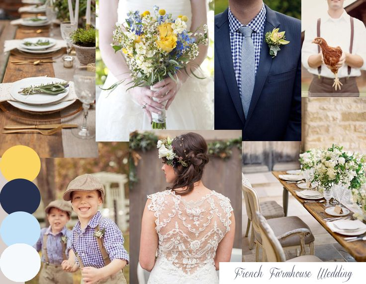 french farmhouse bespoke blue yellow and white wedding inspiration moodboard created by Knots & Kisses Stationery Studio