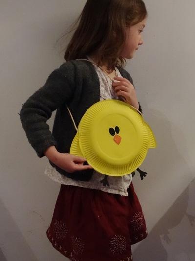 Sac poussin en carton, Activité manuelle et bricolage enfant