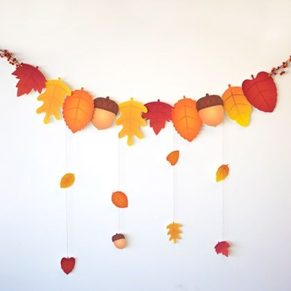 Greet your dinner guests with this colorful autumn leaf garland.