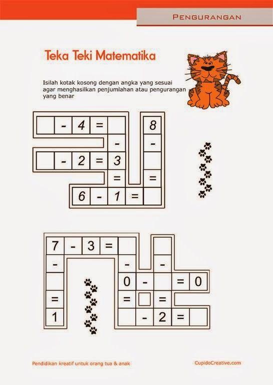 Belajar Anak Sd Matematika Pengurangan 1 10 Lembar Kerja Paud Tts Anak Edukids Pinterest