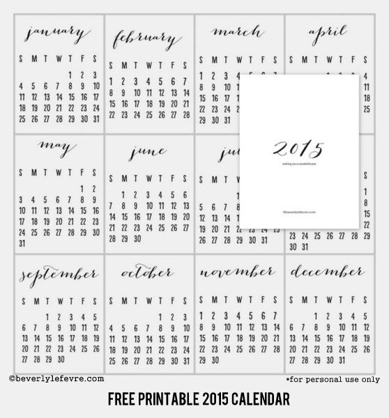 *for personal use only  Hope you enjoy this free printable 2015 calendar.  It will look nice hanging on a clipboard or with washi tape or other  creative ideas you might have. If you print it out, share with me how you  use it. I would love to see how you display it. Share your photos on my fb  page or tag me on IG.   enjoy!  Happy December and Happy Monday xo  printable 2015 calendar PDF