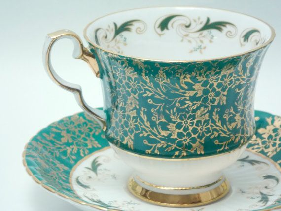 Hammersley Green Ground Gold Floral Chintz Tea Cup and Saucer Vintage Fine Bone China Made in England