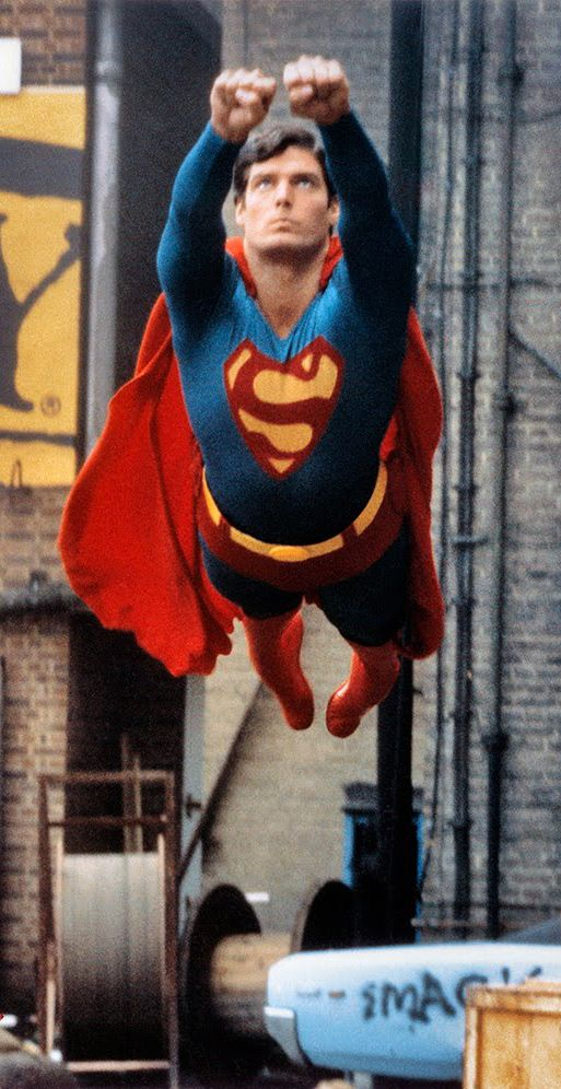 Superman (Christopher Reeve) If you look close enough you can totally see the wires lol