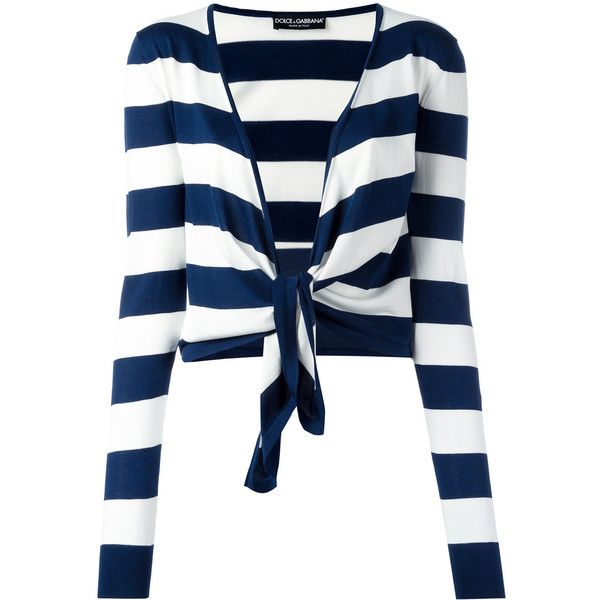 Dolce & Gabbana striped tie cardigan ($995) ❤ liked on Polyvore featuring tops, cardigans, blue, blue cardigan, white summer cardigan, summer tops, white long sleeve top and striped cardigan