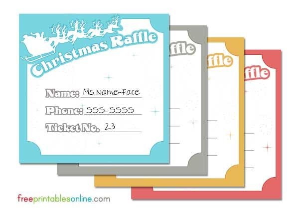 Santa And His Reindeer Christmas Raffle Tickets Free Printables Free  Printables Online  Christmas Party Ticket Template Free