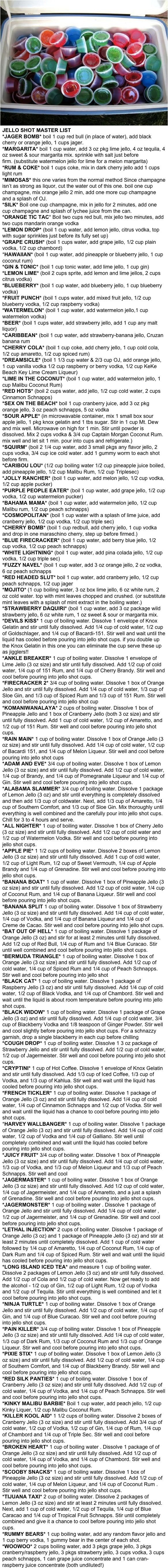 Jello Shots Master List. this. is. AWESOME.