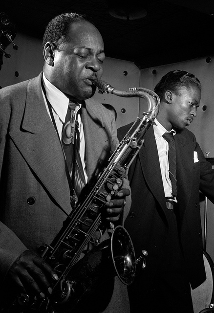 Coleman Hawkins and Miles Davis, New York, 1947, by William P. Gottlieb