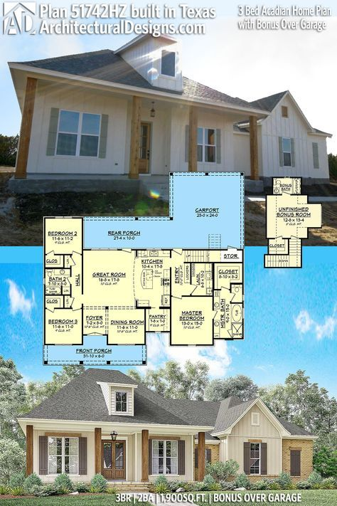 Architectural Designs House Plan 51742HZ, shown client-built in Texas, gives you 3 beds and 1,900 sq. ft. of heated living space PLUS bonus upstairs. Ready when you are. Where do YOU want to build? #51742HZ #adhouseplans #architecturaldesigns #houseplan #architecture #newhome #newconstruction #newhouse #homedesign #dreamhome #dreamhouse #homeplan #architecture #architect #acadianhouse #acadianhome #southernhouse #southernhome #southernliving #southernlife