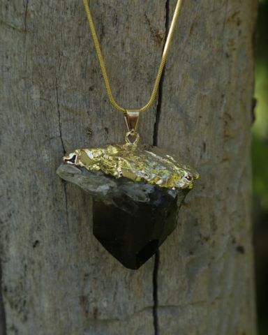Smokey Quartz Crystal Druzy on Gold Snake Chain – Bohemian Tapestry