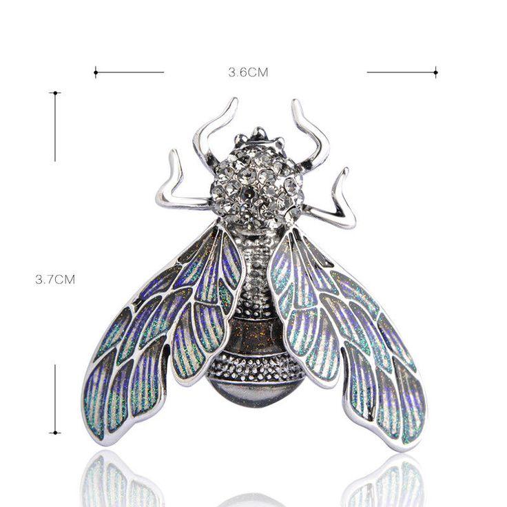 Blucome красивый зеленый фиолетовый эмаль Брошь насекомые кристалл для женщин #Blucome