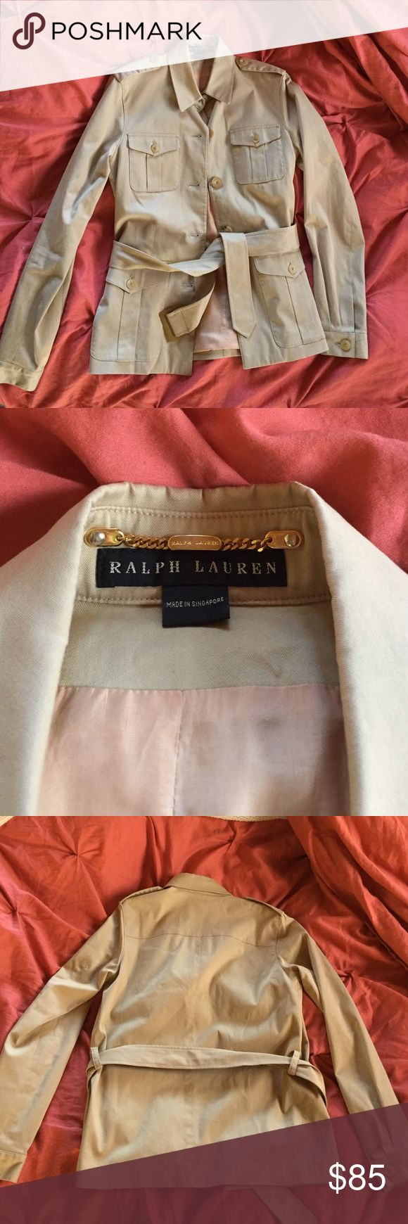 RALPH LAUREN women's button down utility jacket Ralph Lauren tan women's trench jacket. Perfect for fall. Gently used. Small stain on belt pictured above. Size 6 but runs a bit smaller. 4 botton close pockets in the front bottomed sleeve cuffs and shoulder detail. Ralph Lauren Jackets & Coats Utility Jackets