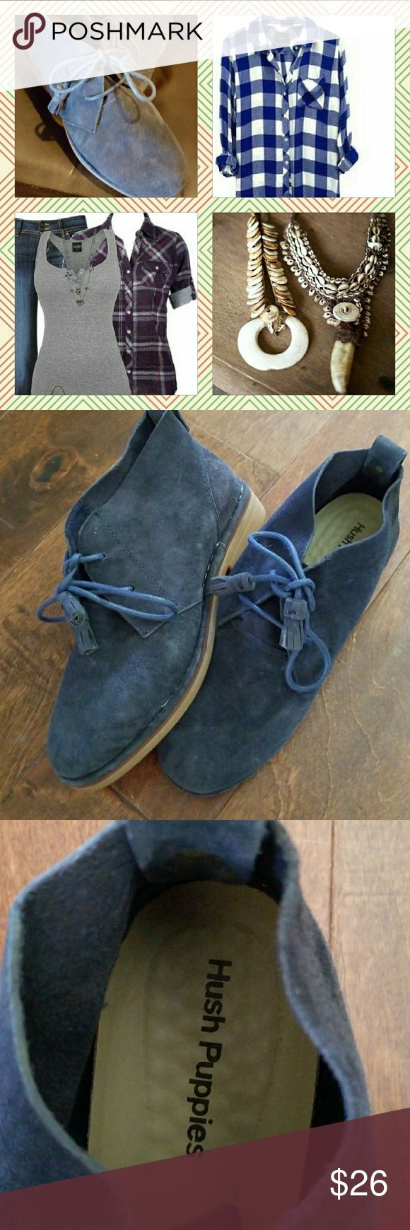 Hush Puppies Blue Suede Booties Soft Blue Suede Booties Size US 7 Hush Puppies Shoes Ankle Boots & Booties