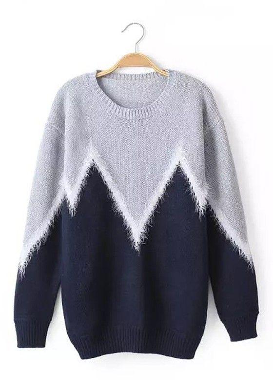 Navy Blue Patchwork Fur Long Sleeve Sweater