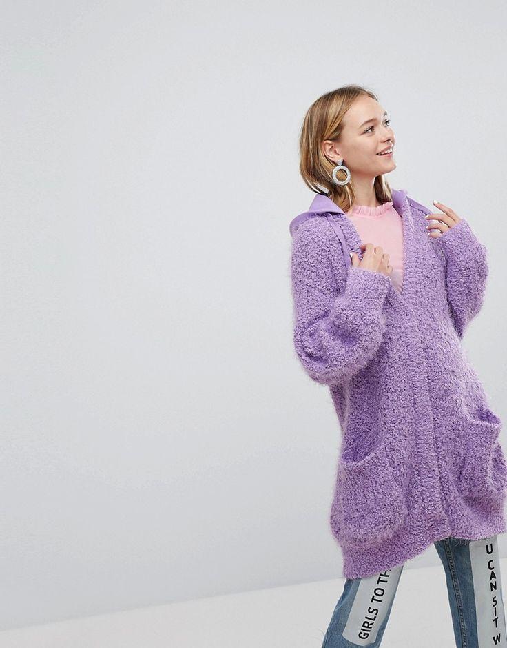 Monki Knitted Hoodie Cardigan - Purple