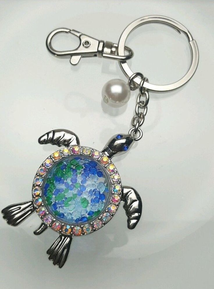 Silver Tone Sea Turtle Key Chain Ring Purse Charm