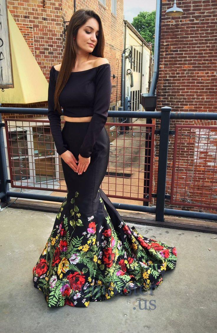 Big Floral Printed Black Two Piece Long Sleeved Mermaid Prom Dress