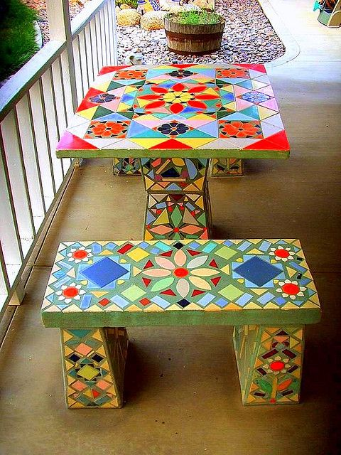 LOVE this vintage mosaic table and benches!