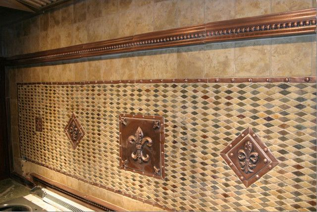 Fleur De Lis mosaic kitchen backsplash