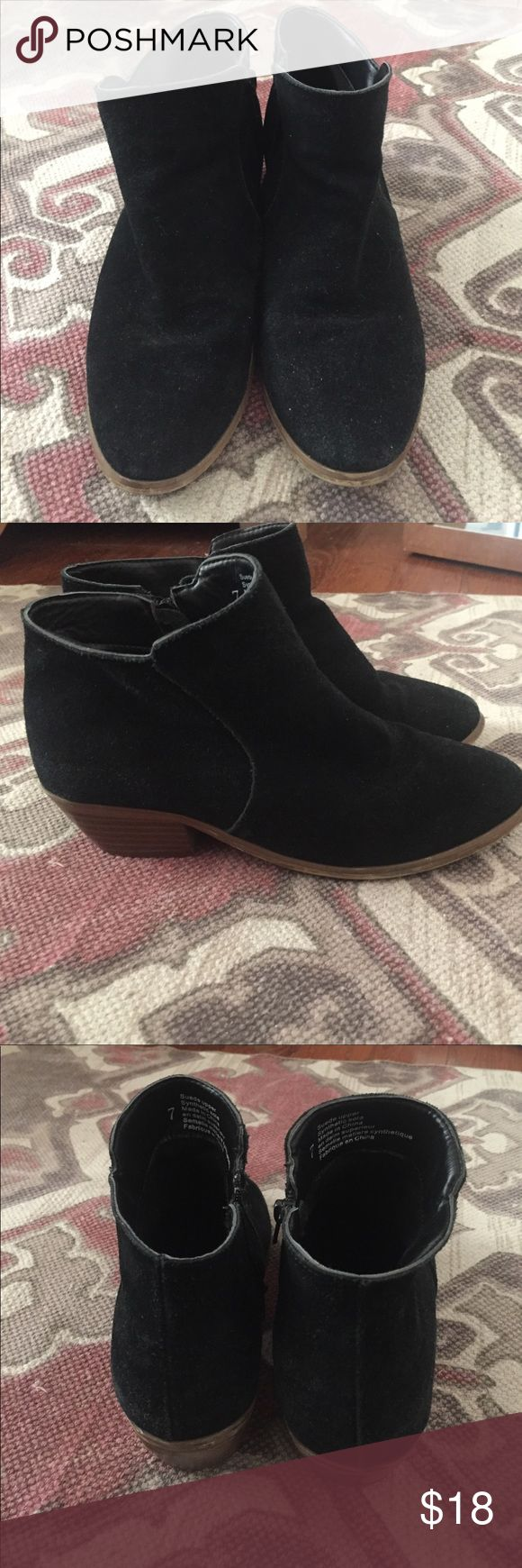 Black Suede Urban Outfitters Boots Pre-owned black suede ankle boots. Small heel, about 2 inches. Zips up on sides. Still has lots of life out of them. Brand is Ecote that is sold at urban outfitters. Urban Outfitters Shoes Ankle Boots & Booties