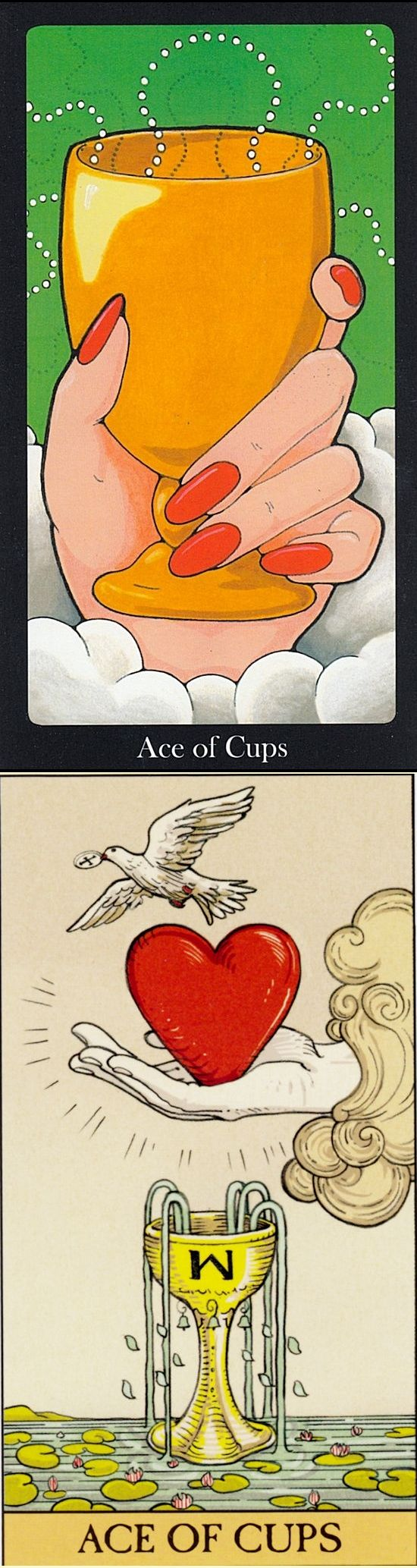 Ace of Cups: overflowing feelings and blocked creative potential (reverse). Hallmark Tarot deck and AfterTarot Tarot deck: tarot generator, free tarot card reading angels and free one card tarot reading.
