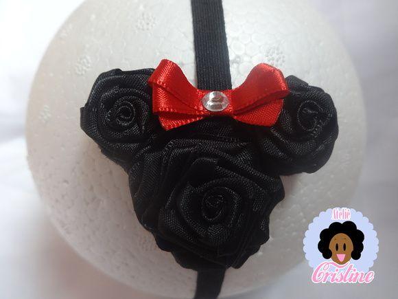 Faixa de cabelo da #minnie em rosas de cetim