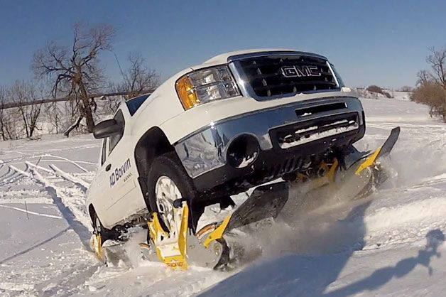 This creative solution for foul-weather-mastery comes from AD Boivin, a company better known for marketing products for powersports vehicles like motocross bikes and snowmobiles. The company says that this is the world's first wheel-driven track system