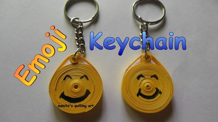 DIY PAPER QUILLING ART AND CRAFT-HOW TO MAKE SMILEY EMOJI KEYCHAINS-SUMITA'S QUILLING ART