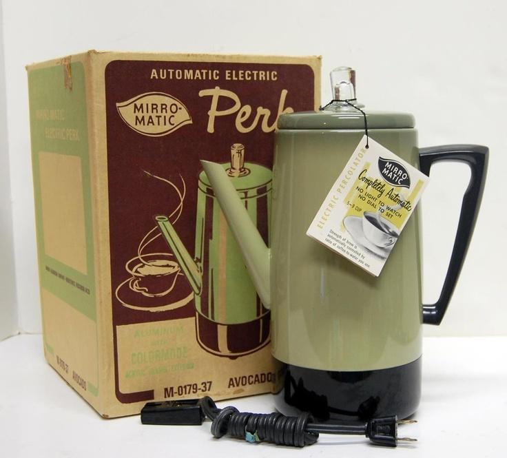 Retro mirror matic electric coffee pot percolator avocado for Mirror 0 matic