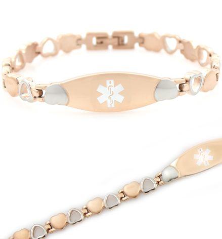 Gold Trim Diabetic Type 2 Stainless Steel Medical Alert Bracelet Ot6TjI