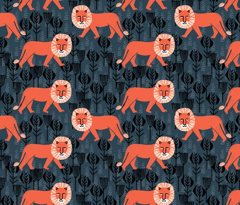 Safari lion parisian blue coral fabric by andrea lauren for Childrens jungle print fabric