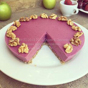 Свекольно-малиновый пирог (без муки, без глютена, без сахара, масла, без выпечки, веганский)