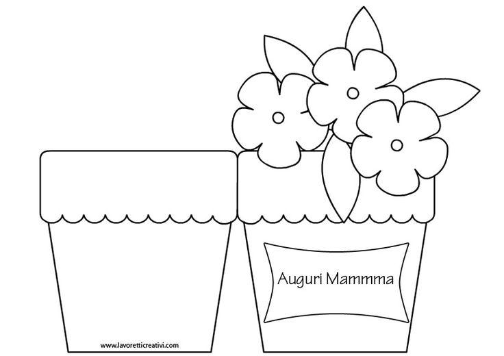 Biglietto Festa della Mamma   Vaso con fiori