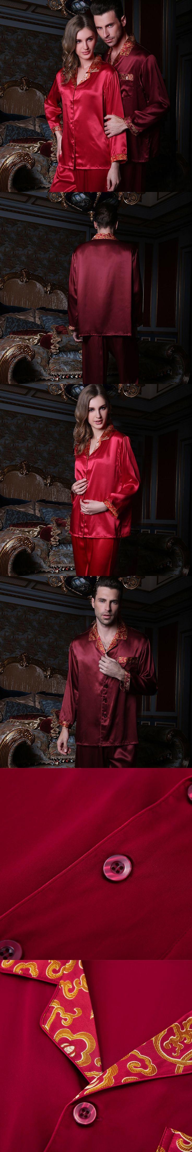 Autumn Men and Women lovers Silk Pajamas Sleepwears Long-sleeve 5A 100% Mulberry Silk Pajama Sets Free Shipping