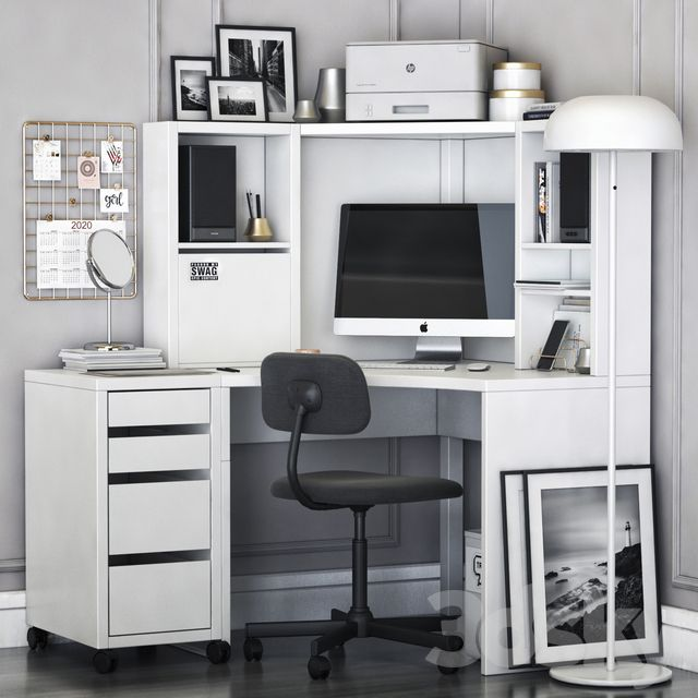 Ikea Corner Desk Work Area In 2020 Ikea Corner Desk Corner Workstation Ikea Micke