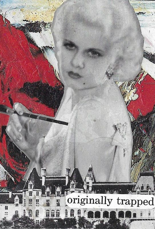 """""""originally trapped."""" Bad Houses playing card collage series, 2017. Sourced from books on Golden Hollywood and houses of the robber barons."""