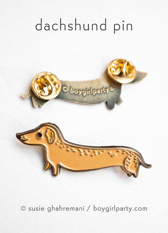 Dachshund pin by boygirlparty https://www.etsy.com/boygirlparty/listing/266551381/enamel-pin-dog-pin-dachshund-pin
