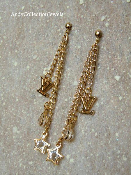 Sparkling Long Chain Replica Dangling Earrings with Star, Teardrop Crystal, CC and LV Charms
