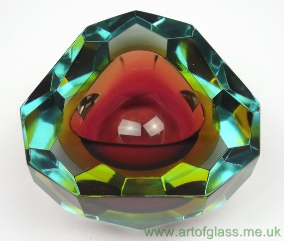 Murano sommerso faceted glass bowl