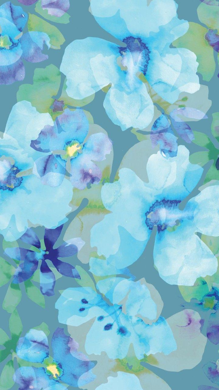 Blue Aqua Petal Flower Lilac Turquoise Floral Wallpaper