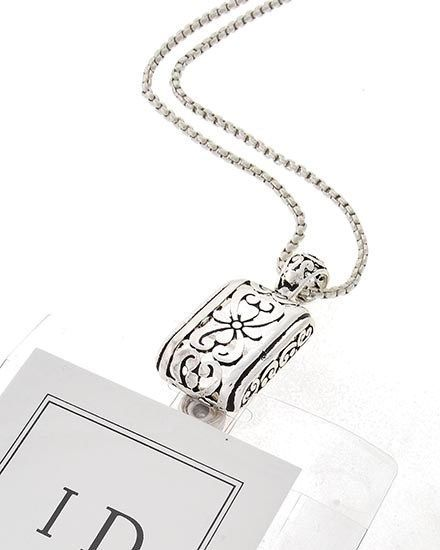 Id badge holder silver scroll design badge holder for Brighton badge holder jewelry