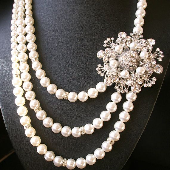 Statement Wedding Necklace Pearl Bridal Jewelry by luxedeluxe