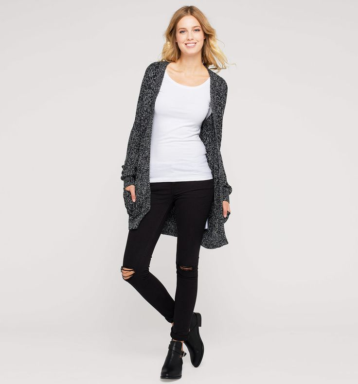 Sklep internetowy C&A | Długi kardigan, kolor:  czarny / biały | Dobra jakość w niskiej cenie