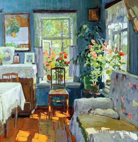 Выржиковский Эдвард Яковлевич (1928-2009) «Интерьер с Кузей» 1981
