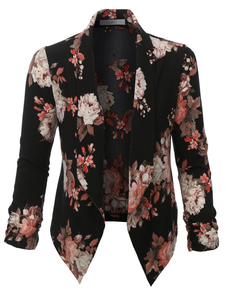 LE3NO Womens Floral 3/4 Sleeve Open Front Blazer
