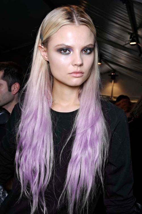 Lavender and Pastel Locks. Hair chalk done in single color ombre