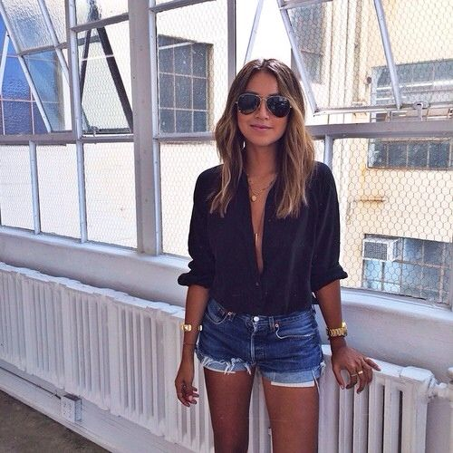 Low-buttoned black + cut-offs